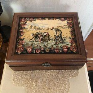 Vintage Tapestry Jewelry Box